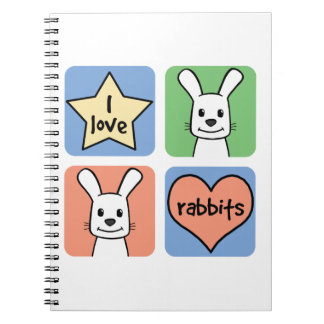 I Love Rabbits Spiral Notebook