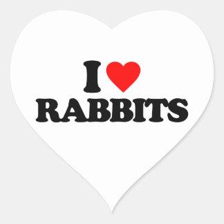 I LOVE RABBITS HEART STICKERS
