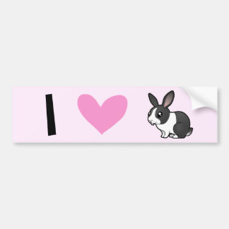 I Love Rabbits (uppy ear smooth hair) Car Bumper Sticker