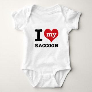 I Love raccoon Baby Bodysuit