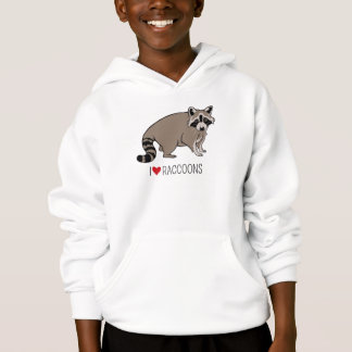I Love Raccoons - Cartoon Raccoon Hoodie