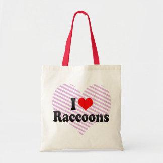 I Love Raccoons Tote Bag