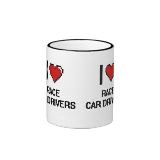 I love Race Car Drivers Ringer Mug
