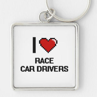 I love Race Car Drivers Silver-Colored Square Keychain