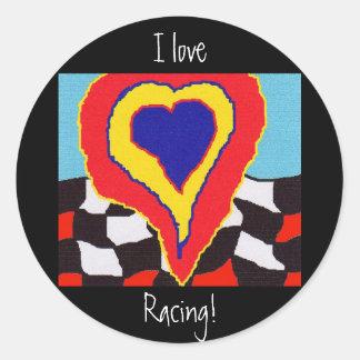 I Love Racing! Classic Round Sticker