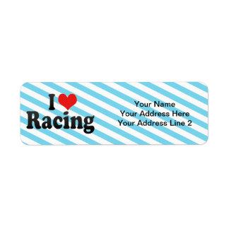 I Love Racing Custom Return Address Label