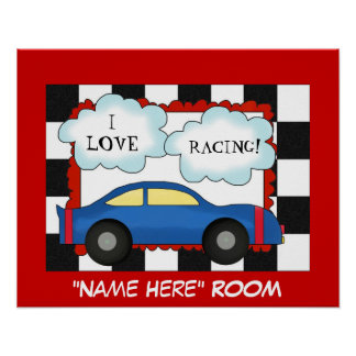 I Love Racing Kids Room Poster