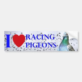 I love racing pigeons car bumper sticker