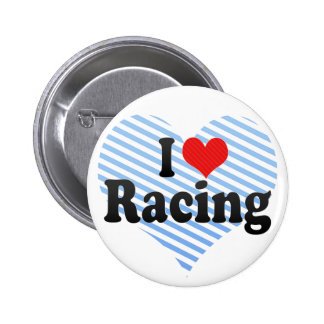 I Love Racing Pinback Buttons