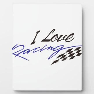 I Love Racing Photo Plaques