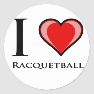 I Love Racquetball Classic Round Sticker