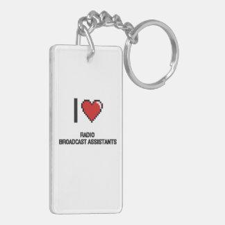 I love Radio Broadcast Assistants Double-Sided Rectangular Acrylic Keychain
