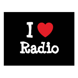 I love Radio heart custom personalized Post Cards