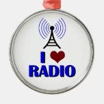I Love Radio Metal Ornament