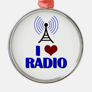 I Love Radio Metal Ornament