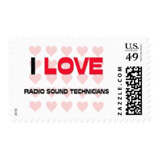 I LOVE RADIO SOUND TECHNICIANS POSTAGE STAMPS