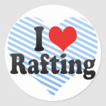 I Love Rafting Round Stickers