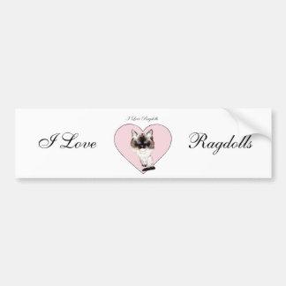 I Love Ragdolls Bumper Sticker