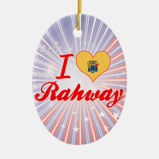 I Love Rahway, New Jersey Double-Sided Oval Ceramic Christmas Ornament