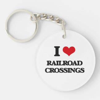 I Love Railroad Crossings Single-Sided Round Acrylic Keychain