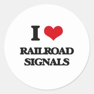 I Love Railroad Signals Round Sticker