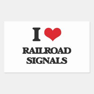 I Love Railroad Signals Rectangular Sticker