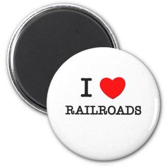 I Love Railroads 2 Inch Round Magnet