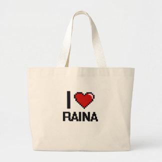 I Love Raina Digital Retro Design Jumbo Tote Bag