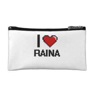 I Love Raina Digital Retro Design Cosmetic Bag