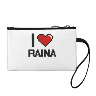 I Love Raina Digital Retro Design Coin Wallets