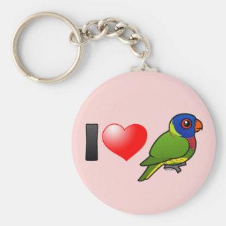I Love Rainbow Lorikeets Basic Round Button Keychain