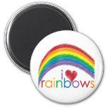 i love rainbows 2 inch round magnet