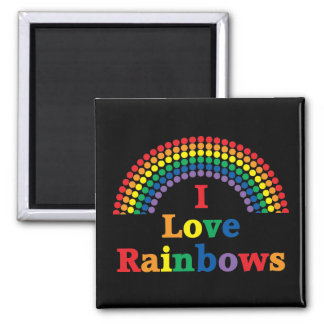 I Love Rainbows Gay Gift 2 Inch Square Magnet