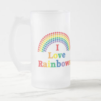 I Love Rainbows Gay Gift Frosted Glass Beer Mug