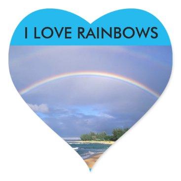 Beach Themed I LOVE RAINBOWS HEART STICKER