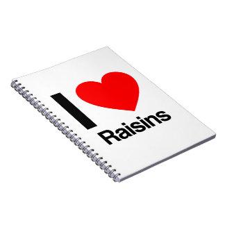 i love raisins notebooks