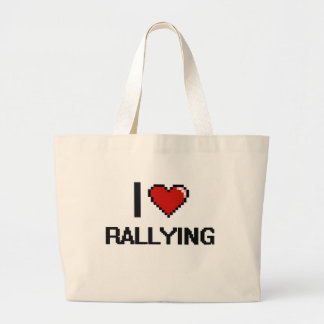 I Love Rallying Digital Retro Design Jumbo Tote Bag