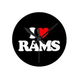 I LOVE RAMS ROUND WALL CLOCK