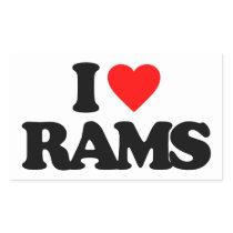 I LOVE RAMS RECTANGULAR STICKER