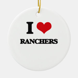 I Love Ranchers Double-Sided Ceramic Round Christmas Ornament
