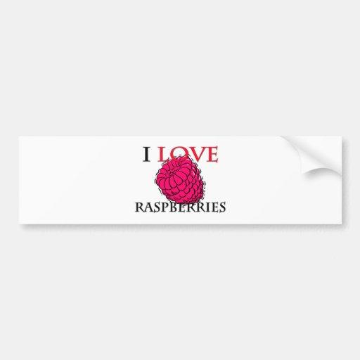 I Love Raspberries Car Bumper Sticker