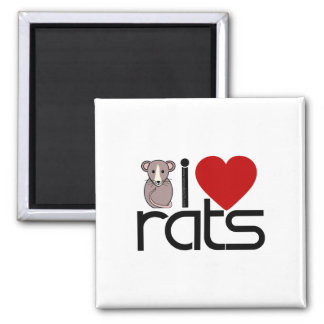 I Love Rats 2 Inch Square Magnet