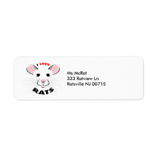 I Love Rats address label from kmcoriginals
