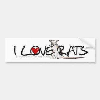 I LOVE RATS bumper sticker Car Bumper Sticker