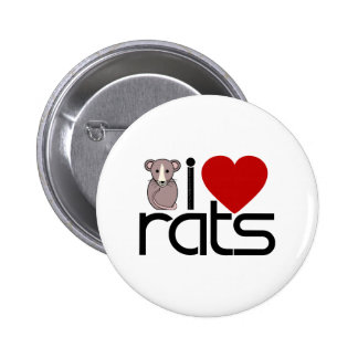 I Love Rats Button
