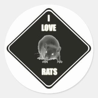I love rats classic round sticker