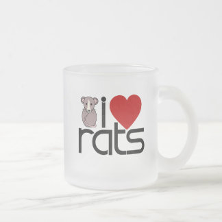 I Love Rats Frosted Glass Coffee Mug