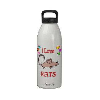 I Love Rats Reusable Water Bottle
