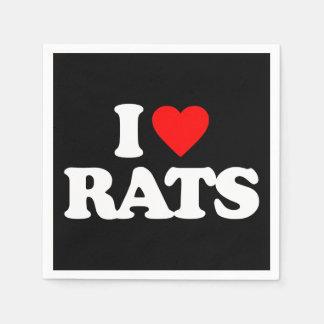 I LOVE RATS STANDARD COCKTAIL NAPKIN