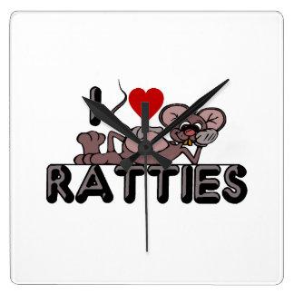 I Love Ratties Square Wall Clock